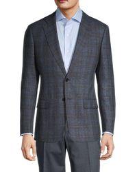 Armani Men's Check Virgin Wool Blazer - Solid Dark - Size 48 (38) R - Blue