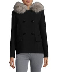 Kate Spade Faux Fur Trim Hooded Double-breasted Coat - Black
