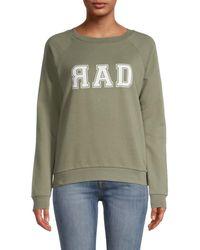 South Parade Women's Raglan Sleeve Graphic Sweatshirt - Green - Size Xs