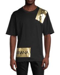 Dolce & Gabbana Men's Metallic Logo T-shirt - Black - Size 46 (s)