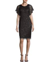 Adrianna Papell Sequined Sheath Dress - Metallic