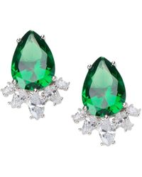 CZ by Kenneth Jay Lane Women's Rhodium-plated & Crystal Statement Pear Earrings - Green