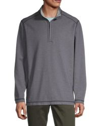 Tommy Bahama Men's Switch It Up Reversible Quarter-zip Shirt - Steel Wool - Size L - Gray
