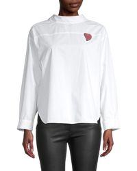 Maje Long-sleeve Cotton-blend Shirt - White