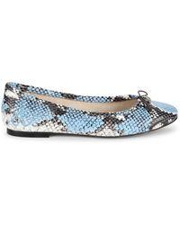 Sam Edelman Felicia Snakeskin Inspired Leather Flats - Blue