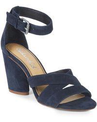 5cd52039c1a Splendid - Nolan Block Heel Suede Sandals - Lyst