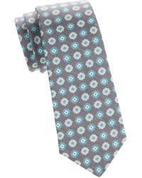 Kiton Textured Floral Silk & Linen Tie - Grey
