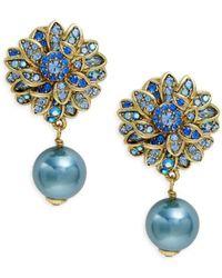 Heidi Daus Crystal & Glass Pearl Flower Drop Earrings - Blue