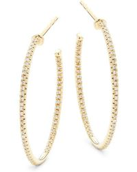 Saks Fifth Avenue - Diamond And 14k Yellow Gold Hoop Earrings - Lyst