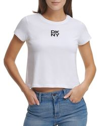 DKNY Women's Cropped Stacked Logo T-shirt - White - Size L
