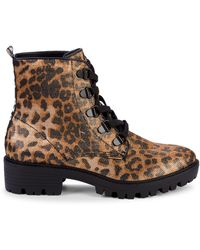 Kendall + Kylie Epic Leopard-print Combat Boots - Black