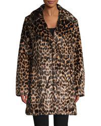 Avec Les Filles Jaquard Leopard Coat - Multicolour