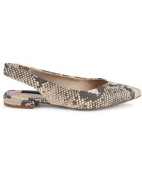 Steven by Steve Madden Printed Leather Slingback Flats - Natural