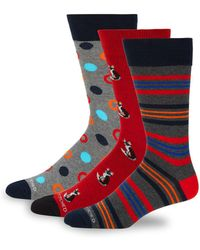 Unsimply Stitched - Three-pack Printed Crew Socks - Lyst