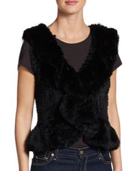 Saks Fifth Avenue - Ruffle Rabbit Fur Vest - Lyst