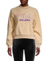 Fila Women's Logo-appliqué Mockneck Sweatshirt - Beige - Size Xs - Natural
