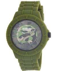 Versus 42mm Tokyo Camo Dial Silicone Strap Watch - Green