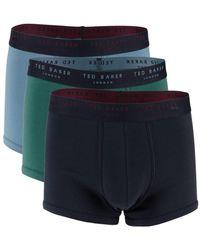 Ted Baker Men's 3-pack Boxer Trunks - Sky - Size S - Blue