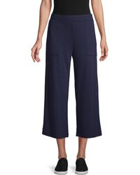 Pure Navy Wide-leg Terry Pants - Blue