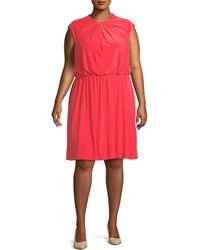 Adrianna Papell Plus Cap-sleeve Fit-&-flare Dress - Red