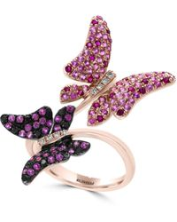 Effy 14k Rose Gold Diamonds Sapphires And Rubies Butterflies Ring - Multicolour