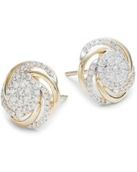Saks Fifth Avenue Women's 14k Yellow Gold & Diamond Spiral Cluster Stud Earrings - Metallic