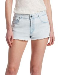 Peserico Light Wash Cut-off Denim Shorts - Blue