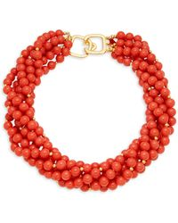 Kenneth Jay Lane Goldtone Chunky Bead Necklace - Red