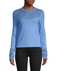 Free People Colette Pointelle Ribbed Sweater - Blue