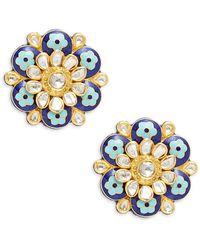 Amrapali 22k Yellow Gold, Enamel & Diamond Floral Stud Earrings - Multicolour