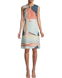 Lafayette 148 New York Taren Abstract Sleeveless Linen Dress - Multicolor