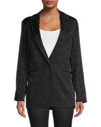 Maje - Women's Leopard Print Blazer - Black - Size 38 (6) - Lyst