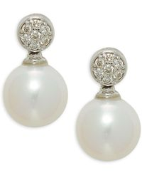Belpearl 14k White Gold, 9mm Freshwater Pearl & Diamond Earrings - Multicolour