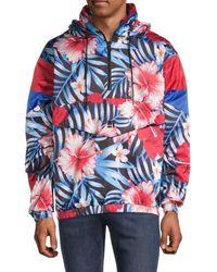 Standard Issue Men's Digital Print Windbreaker - Blue Red Floral - Size L