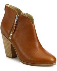 Rag & Bone Margot Leather Zip Booties - Brown