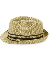 Saks Fifth Avenue Striped Patterned Fedora Hat - Gray - Size L