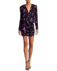 Magda Butrym Embellished Floral Silk Blouson Mini Dress - Black