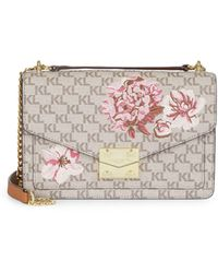Karl Lagerfeld Floral & Logo Leather Crossbody Bag - Multicolour