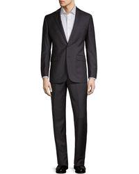 Calvin Klein Slim-fit Plaid Wool-blend Suit - Grey