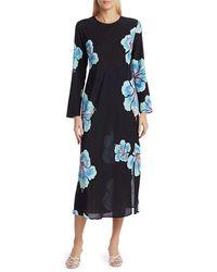 RIXO London Amanda Abstract Hawaiian Floral Midi Dress - Multicolor