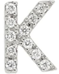 Nephora - Women's 14k White Gold & 0.04 Tcw Diamond Initial K Single Stud Earring - Lyst