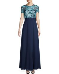 JS Collections Embroidered Illusion Bodice Gown - Blue