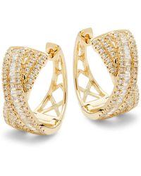 Effy - 14k Yellow Gold & White Diamond Earrings - Lyst