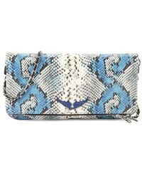 Zadig & Voltaire Women's Rock Painted Embossed Snakeskin-print Leather Crossbody Bag - Passion - Blue