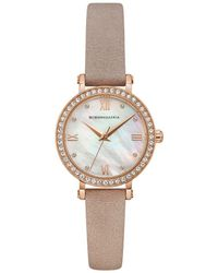 BCBGMAXAZRIA Classic Rose Goldtone Stainless Steel, Crystal & Leather-strap Watch - Natural