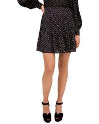 Kate Spade Wavy-print Mini Skirt - Black