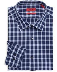 HUGO Mabel Sharp-fit Gingham Dress Shirt - Blue