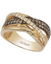 Le Vian Chocolatier® Chocolate & Vanilla Diamondstm Gladiator Weave Ring In 14k Honey Goldtm - Multicolour