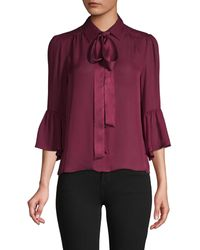 Alice + Olivia Puffed-sleeve Silk-blend Top - Red