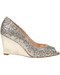 Badgley Mischka - Awake Glitter Leather Wedge Court Shoes - Lyst